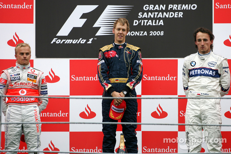 2008: 1. Sebastian Vettel, 2. Heikki Kovalainen, 3. Robert Kubica