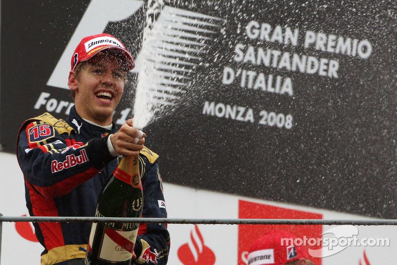 Sebastian Vettel venceu pela primeira vez no GP da Itália de 2008. A conquista também foi a primeira e única da Toro Rosso na F1