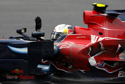 Race winner Sebastian Vettel celebrates