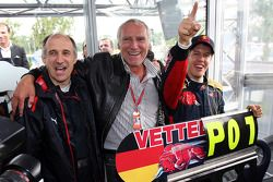 Race winner Sebastian Vettel celebrates with Franz Tost, Scuderia Toro Rosso, Team Principal, and Di