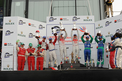 LMP1 podium: class and overall winners Allan McNish and Rinaldo Capello, second place Jan Charouz an