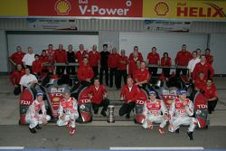Race winner Allan McNish and Rinaldo Capello and Le Mans Series 2008 Champions Alexandre Prémat and Mike Rockenfeller celebrate with Dr. Wolfgang Ullrich and Audi Sport Team Joest team members