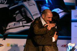 Giorgio Pantano hugs Bruno Michel
