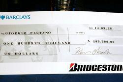 Giorgio Pantano's prize cheque