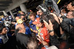 Post-race celebrations with race winner Valentino Rossi, Casey Stoner and Jorge Lorenzo