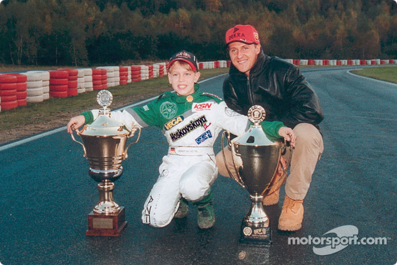 Young kart racer Sebastian Vettel ve his hero Michael Schumacher