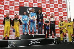GT1 podium: class and overall winners Karl Wendlinger and Ryan Sharp, second place Mike Hezemans and Fabrizio Gollin, third place Christophe Bouchut and Xavier Maassen, best private team Aliaksandr Talkanitsa and Wolfgang Kaufmann