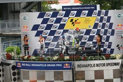 Podium: champagne for Valentino Rossi, Nicky Hayden and Jorge Lorenzo