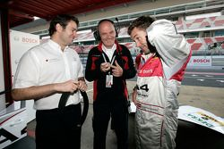 Franco Chiocchetti, Audi Head of Motorsport Dr Wolfgang Ullrich, Tom Kristensen