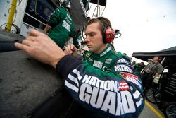 Dale Earnhardt Jr.'s Army National Guard Chevy crew gets the tire readings after Dale Earnhardt Jr. makes a quick pit stop