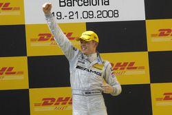 Podium: race winner Paul di Resta celebrates