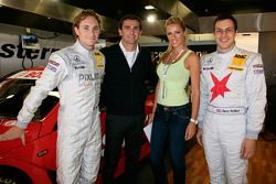 Mathias Lauda, Pedro de la Rosa and Gary Paffett with a charming guest