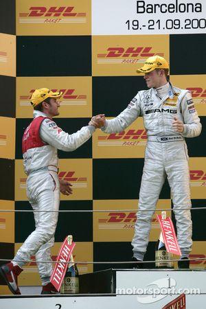 Podium: race winner Paul di Resta, second place Timo Scheider