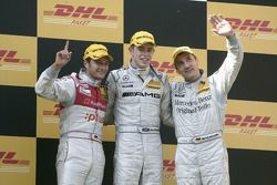 Podium: race winner Paul di Resta, second place Timo Scheider, third place Bernd Schneider
