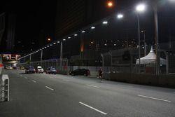 The Singapore circuit floodlit at night