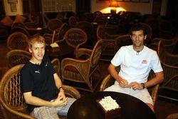 Sebastian Vettel y Mark Webber en el Hotel Raffles