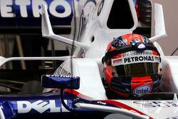 Robert Kubica, BMW Sauber F1 Team utiliza una pequeña luz en el casco