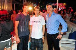 Red Bull Party à Sentosa Island: Mark Webber, Sebastian Vettel et David Coulthard