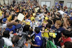 Valentino Rossi with his fans