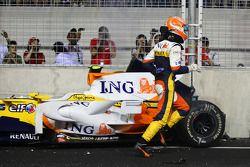Choque de Nelson A. Piquet, Renault F1 Team