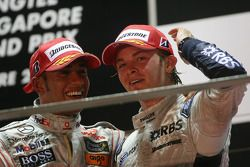 Podium: champagne for Lewis Hamilton and Nico Rosberg