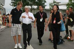 Sebastian Vettel, Scuderia Toro Rosso and Bernie Ecclestone, President and CEO of Formula One Manage