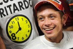 Race winner and 2008 World Champion Valentino Rossi celebrates