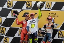Podium: race winner and 2008 World Champion Valentino Rossi, second place Casey Stoner, third place Dani Pedrosa
