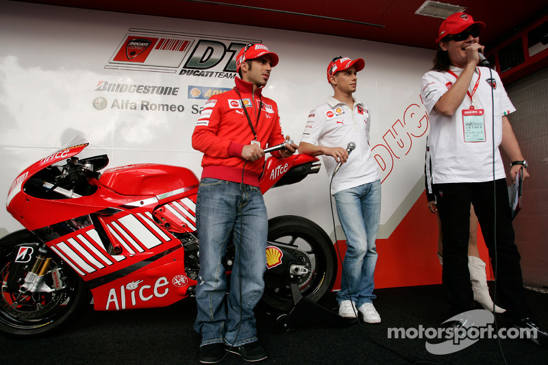 Marco Melandri and Casey Stoner at Ducati display