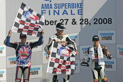 Podium: race winner Mathew Mladin, second place Ben Spies, third place Tommy Hayden