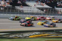 Casey Mears, Brian Vickers and Juan Pablo Montoya lead a group of cars