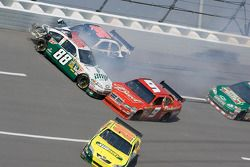 Dale Earnhardt Jr., Kasey Kahne, David Gilliland and Tony Stewart crash in turn 4