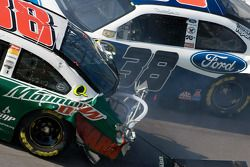 Dale Earnhardt Jr. and David Gilliland crash in turn 4