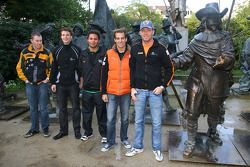Adrian Zaugg, driver of A1 Team South Africa with Earl Bamber, driver of A1 Team New Zealand, Robert Doornbos, driver of A1 Team Netherlands, Jeroen Bleekemolen, driver of A1 Team Netherlands and John Martin, driver of A1 Team Australia
