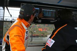 Jeroen Bleekemolen, driver of A1 Team Netherlands at the pitwall towards the end of the qualifying s