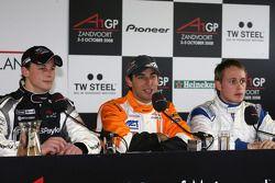 Earl Bamber, driver of A1 Team New Zealand, Jeroen Bleekemolen, driver of A1 Team Netherlands and Adam Carroll, driver of A1 Team Ireland