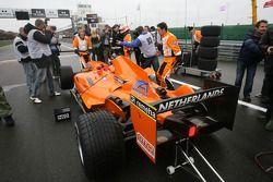 Car of Jeroen Bleekemolen, driver of A1 Team Netherlands om the grid
