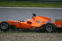 Jeroen Bleekemolen, driver of A1 Team Netherlands lost the lead of the race when he went through the gravel