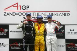 Podium, Fairuz Fauzy, driver of A1 Team Malaysia, Earl Bamber, driver of A1 Team New Zealand and Loi
