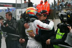 Olivier Panis, Seat Holder of A1 Team France congratulates Loic Duval, driver of A1 Team France