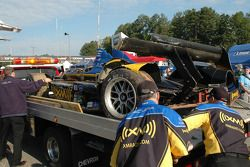 Damaged Andretti Green Racing Acura ARX-01B Acura after the crash of Franck Montagny