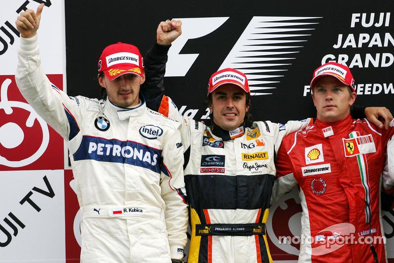 2008: 1. Fernando Alonso, 2. Robert Kubica, 3. Kimi Räikkönen