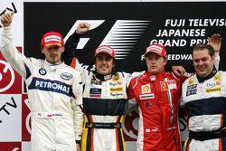 Podio: ganador de la carrera Fernando Alonso, Robert Kubica el segundo lugar, tercer lugar Kimi Rai