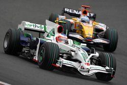 Rubens Barrichello, Honda Racing F1 Team, RA108 leads Fernando Alonso, Renault F1 Team, R28