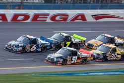 Kyle Busch and Colin Braun battle for the lead in the closing laps