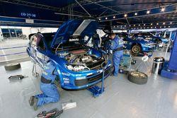 The three Impreza WRC2008s in the SWRT service area
