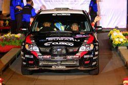 Yuya Sumiyama et son copilote Tadashi Misaizu, au volant d'une Subaru Impreza WRX pour Cusco Racing