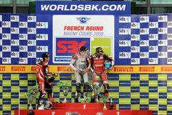 Podium: race winner Troy Bayliss, second place Noriyuki Haga, third place Troy Corser