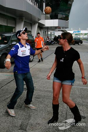 Jorge Lorenzo try out a Malaysian traditional game called 'Sepak Takraw'