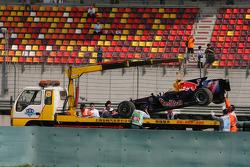 Mark Webber, Red Bull Racing car is taken away